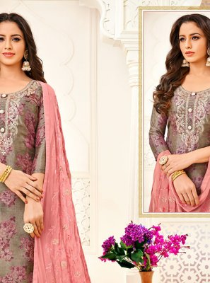 Grey Color Trendy Churidar Suit