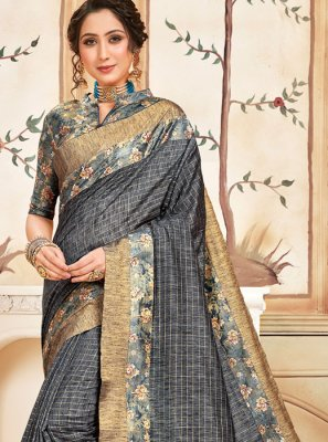 Grey Cotton Festival Traditional Saree
