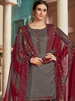 Grey Cotton Patiala Salwar Kameez