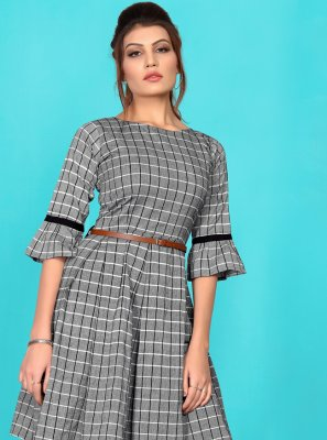 Grey Cotton Printed Party Wear Kurti
