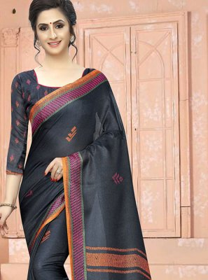 Grey Cotton Printed Saree