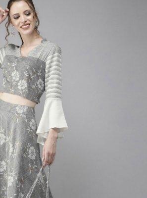 Grey Cotton Readymade Lehenga Choli