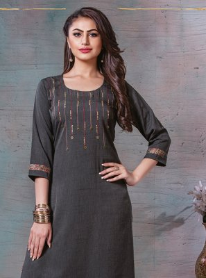 Grey Cotton Reception Designer Kurti