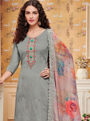 Grey Cotton Trendy Palazzo Salwar Suit
