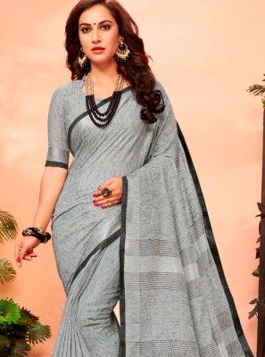 Grey Cotton Woven Casual Saree