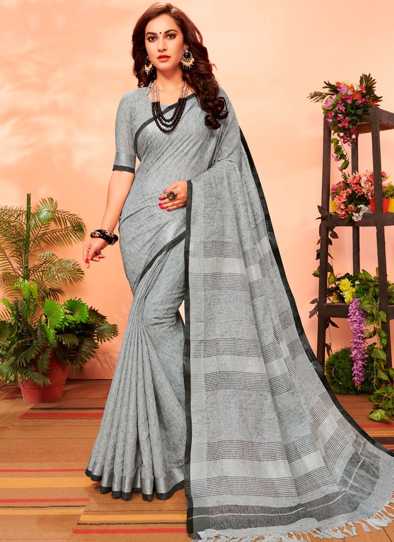 Grey Cotton Woven Casual Saree