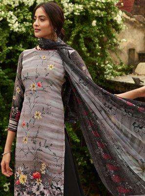 Grey Crepe Silk Designer Palazzo Suit