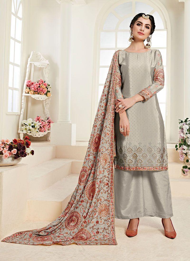 Grey Designer Palazzo Suit