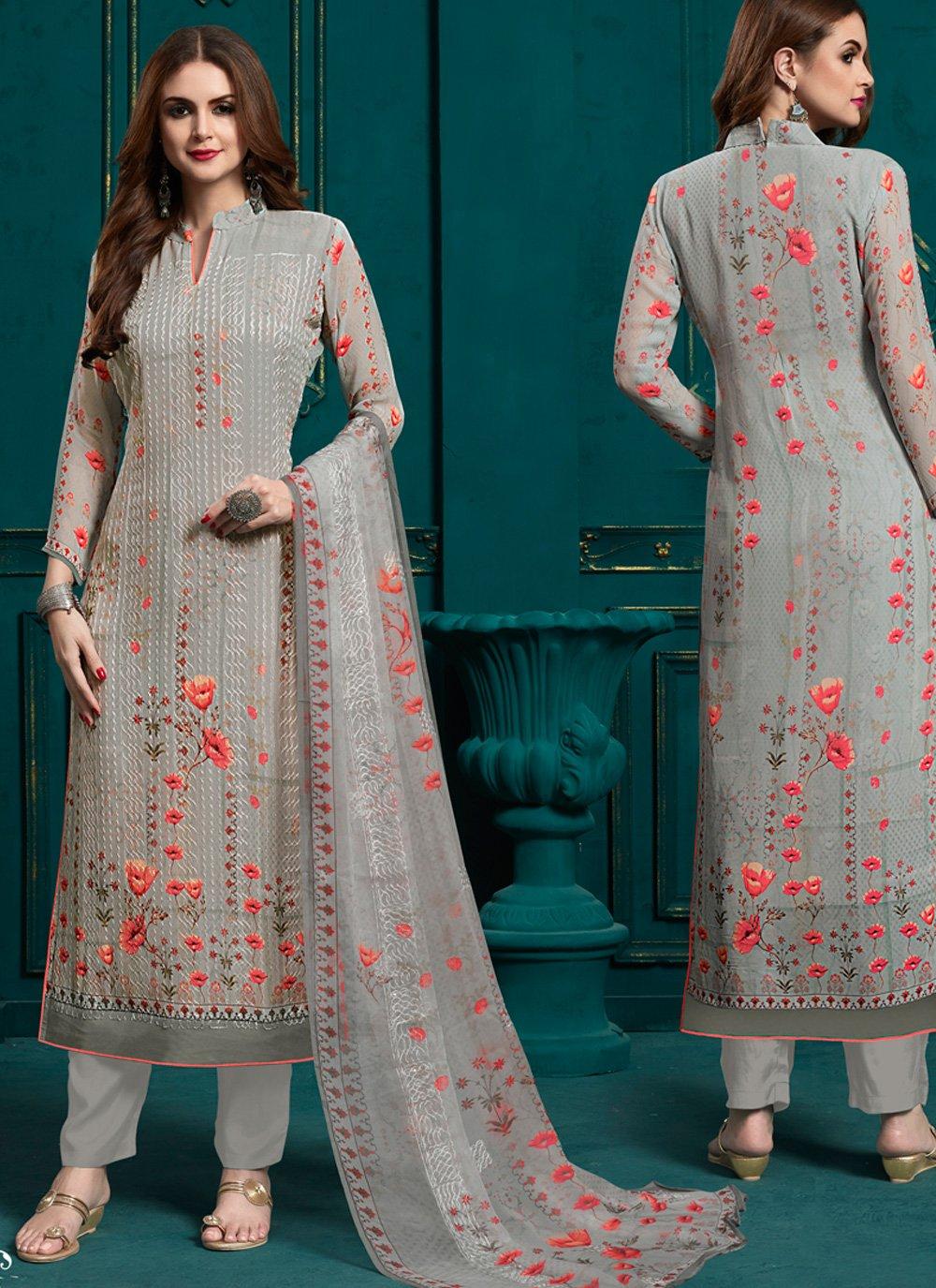 Grey Digital Print Bamber Georgette  Salwar Suit
