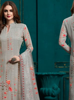 Grey Digital Print Bamber Georgette  Salwar Suit