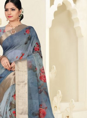 Grey Digital Print Party Silk Saree