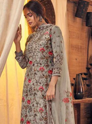 Grey Digital Print Viscose Designer Palazzo Salwar Suit