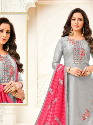 Grey Embroidered Art Silk Churidar Salwar Kameez