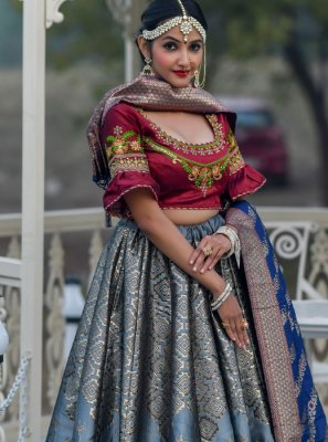Grey Embroidered Banarasi Silk A Line Lehenga Choli