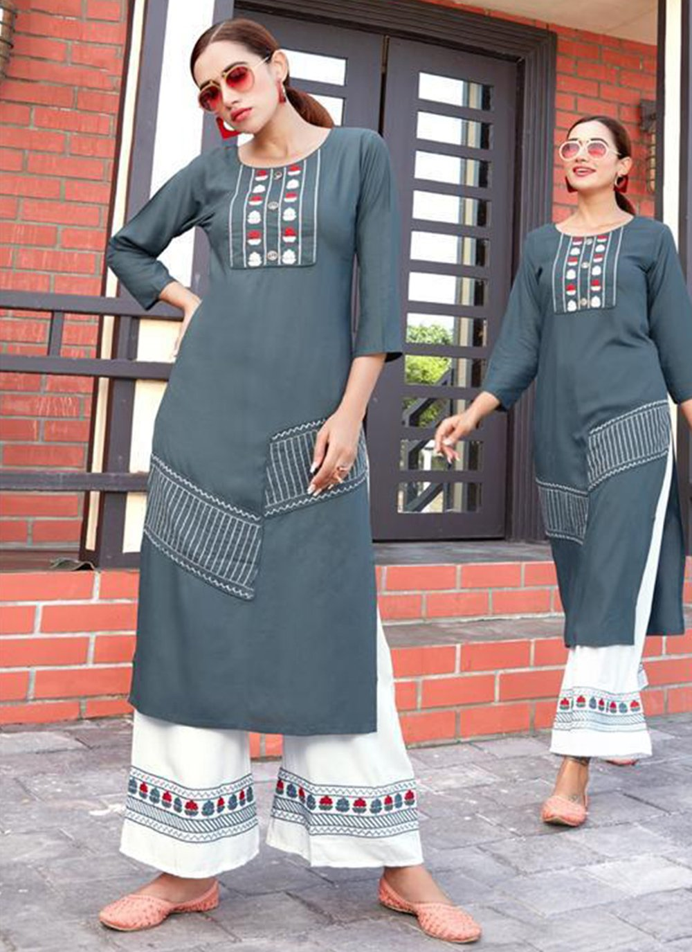 Grey Embroidered Casual Kurti