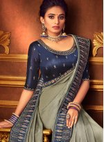 Grey Embroidered Contemporary Style Saree