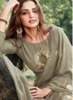 Grey Embroidered Cotton Silk Designer Salwar Suit