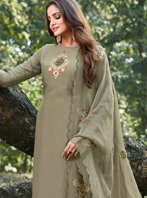 Grey Embroidered Cotton Silk Designer Salwar Suit