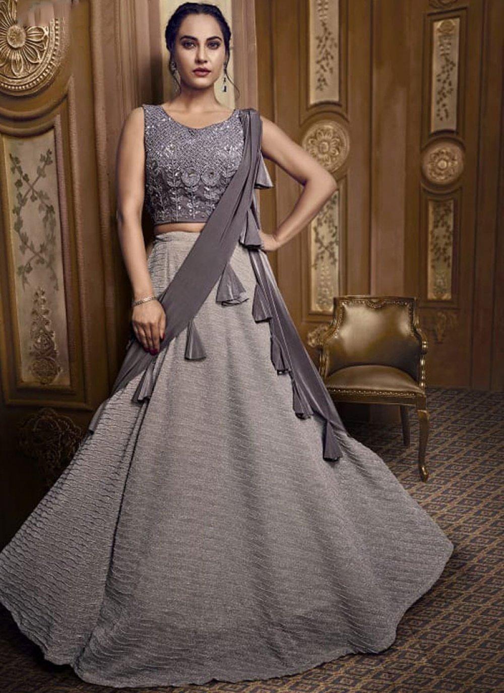 Grey Embroidered Designer Lehenga Choli