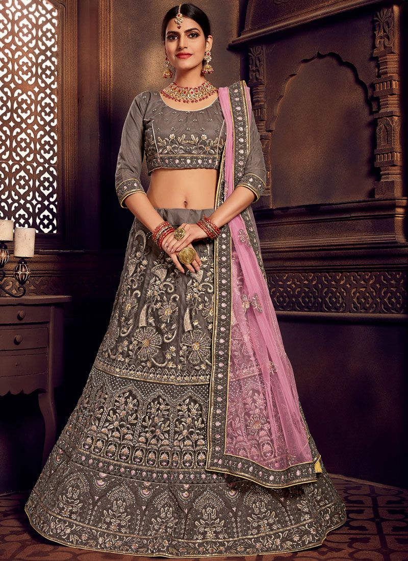 Grey Embroidered Designer Lehenga Choli