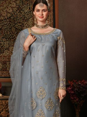Grey Embroidered Designer Pakistani Salwar Suit