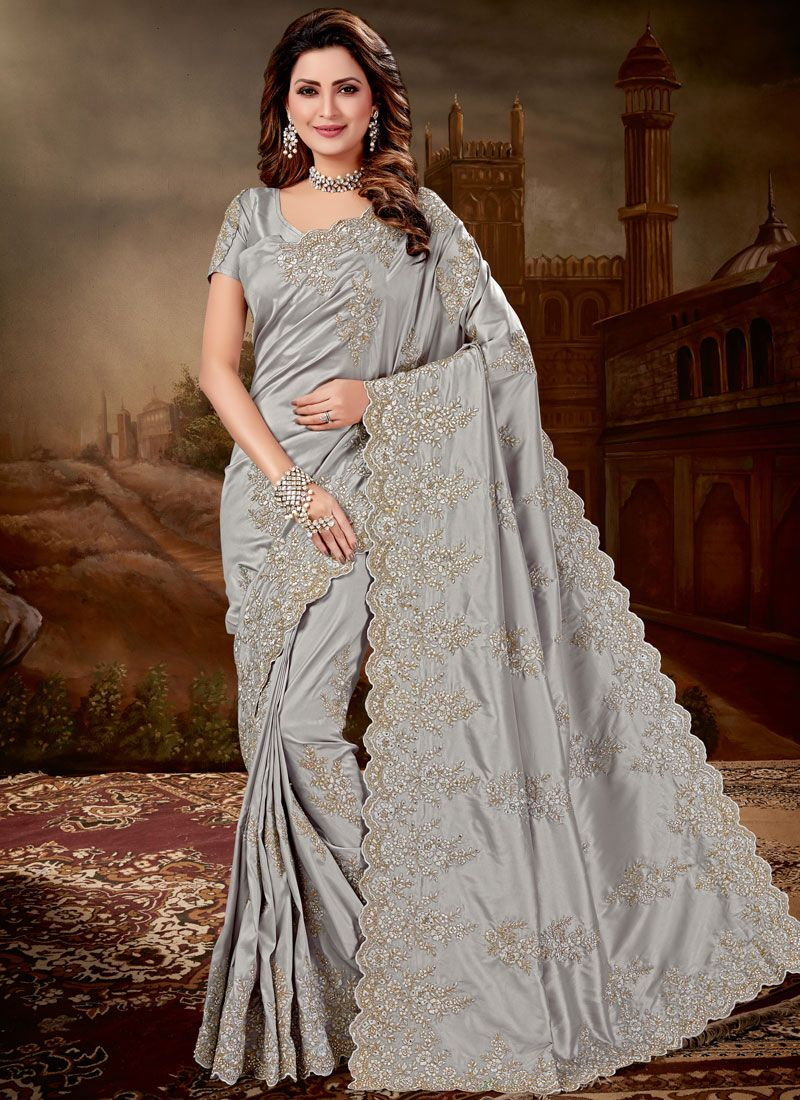 Grey Embroidered Designer Saree
