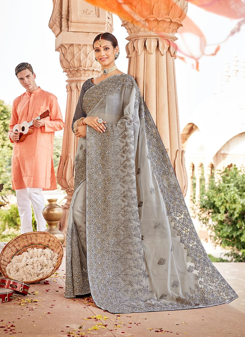 Grey Embroidered Faux Chiffon Classic Saree
