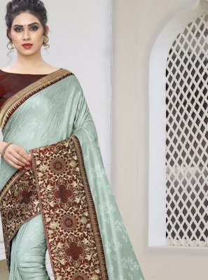 Grey Embroidered Faux Georgette Designer Traditional Saree