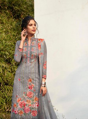 Grey Embroidered Faux Georgette Pant Style Suit