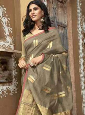Grey Embroidered Festival Casual Saree