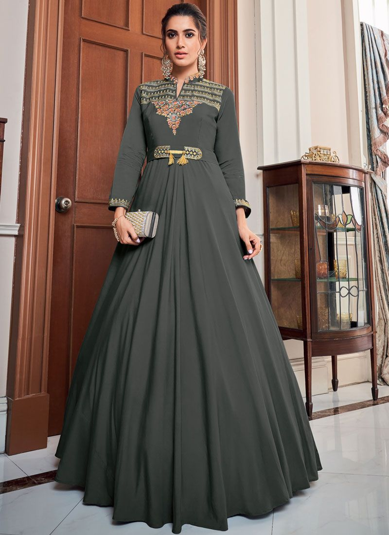 Grey Embroidered Floor Length Gown