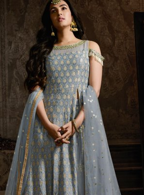 Grey Embroidered Georgette Lehenga Choli