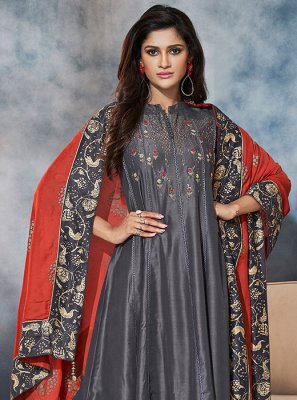 Grey Embroidered Muslin Churidar Suit