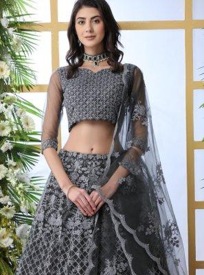Grey Embroidered Net Lehenga Choli