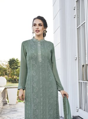 Grey Embroidered Net Palazzo Suit