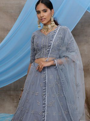 Grey Embroidered Net Trendy A Line Lehenga Choli
