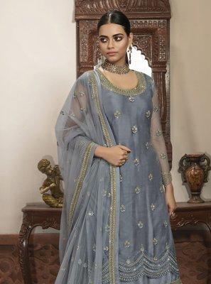 Grey Embroidered Net Trendy Lehenga Choli