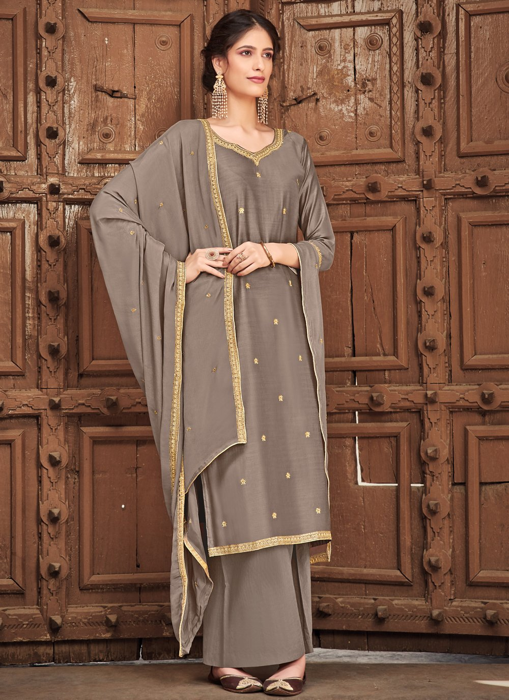 Grey Embroidered Palazzo Straight Suit