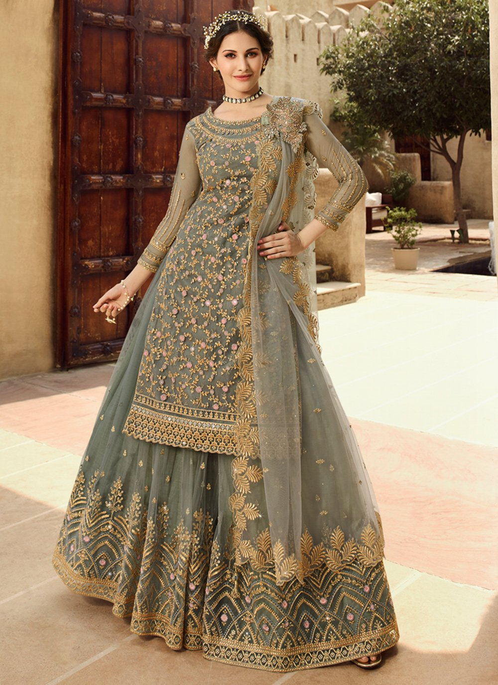 Grey Embroidered Party Salwar Suit