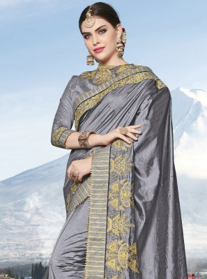 Grey Embroidered Party Trendy Saree