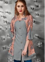 Grey Embroidered Party Wear Kurti