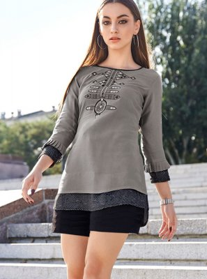 Grey Embroidered Rayon Party Wear Kurti