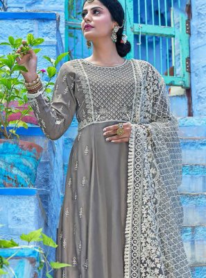Grey Embroidered Readymade Salwar Kameez