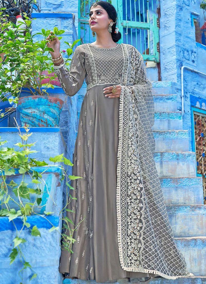 Grey Embroidered Readymade Salwar Kameez