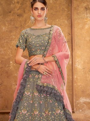 Grey Embroidered Reception A Line Lehenga Choli