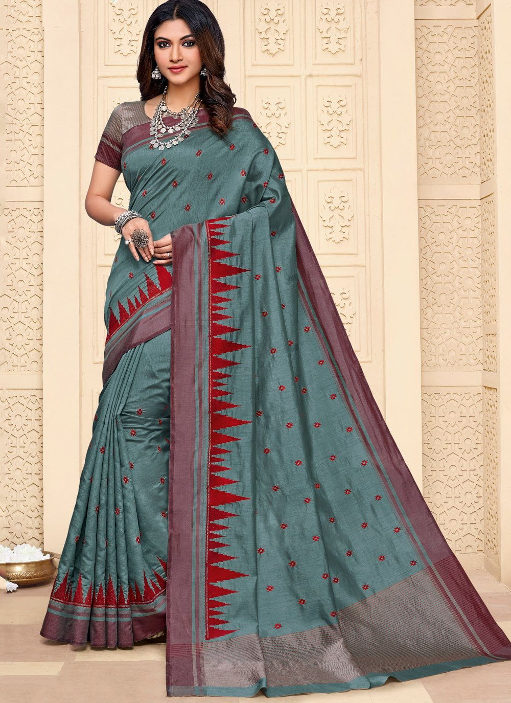 Grey Embroidered Reception Contemporary Style Saree