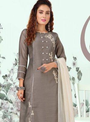 Grey Embroidered Salwar Kameez