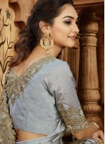 Grey Embroidered Satin Trendy Saree