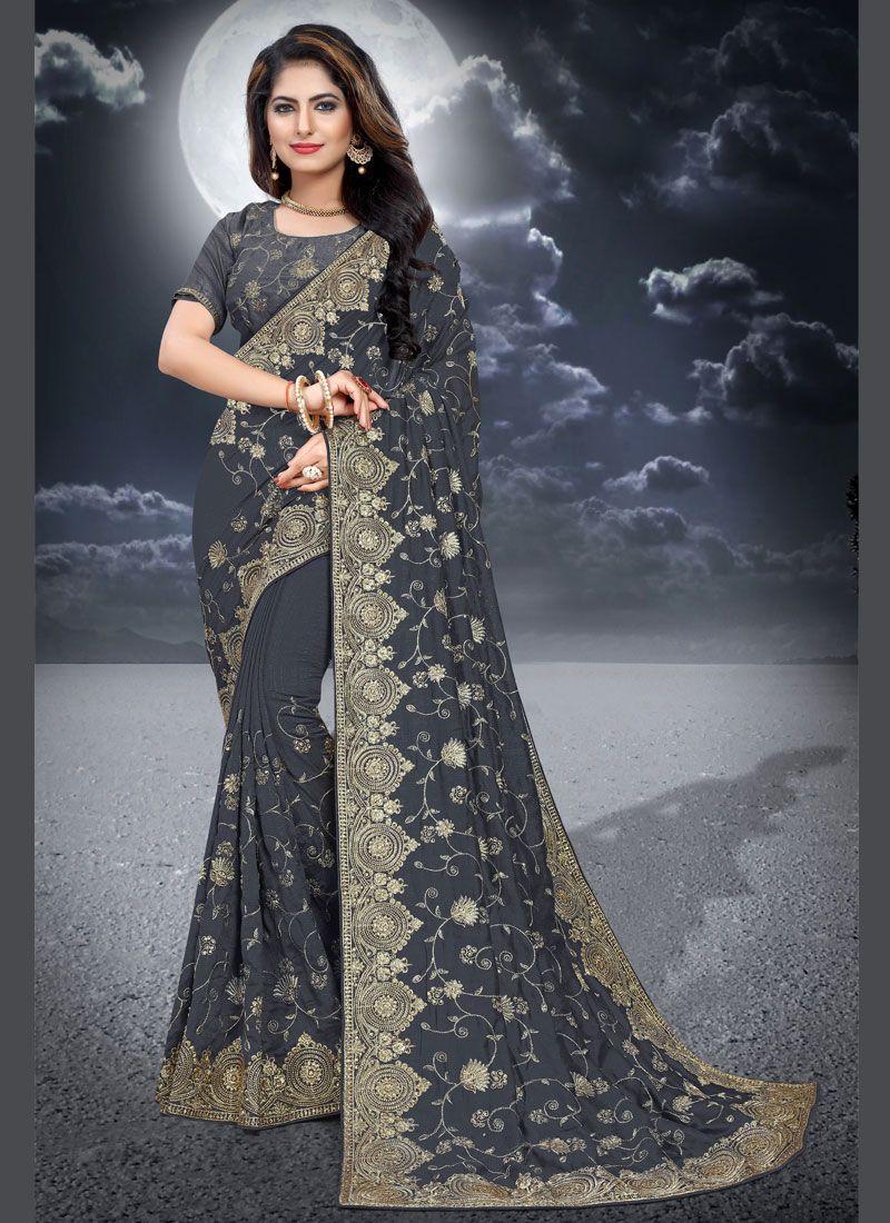 Grey Embroidered Silk Classic Designer Saree