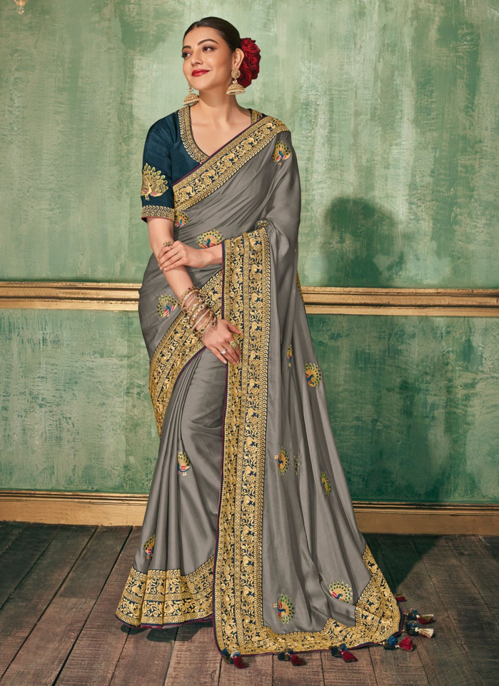 Grey Embroidered Silk Classic Saree
